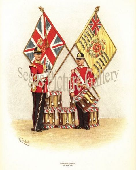 Fine art print of the British Military of The Border Regiment (34th and 55th Foot) by Richard Simkin
